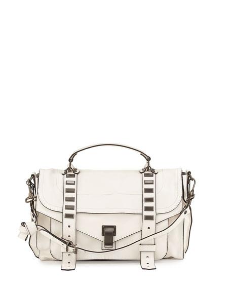 PS1 Medium Stud Satchel Bag, White