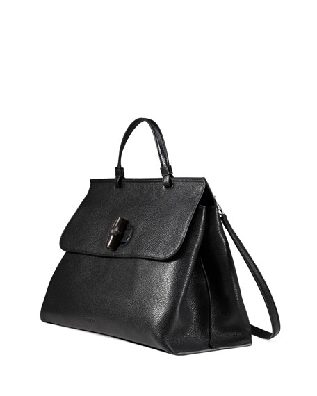 Image 3 of 4: Bamboo Daily Leather Top Handle Bag, Black