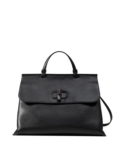 Bamboo Daily Leather Top Handle Bag, Black