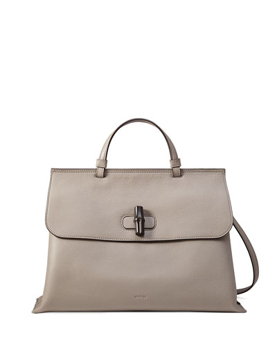 Bamboo Daily Leather Top Handle Bag, Light Gray