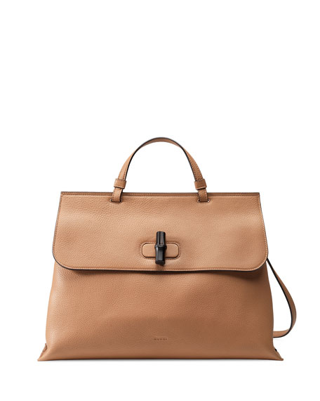 Gucci Bamboo Daily Leather Top Handle Bag, Beige
