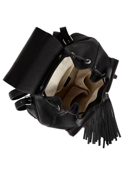 Bamboo Sac Leather Backpack, Black