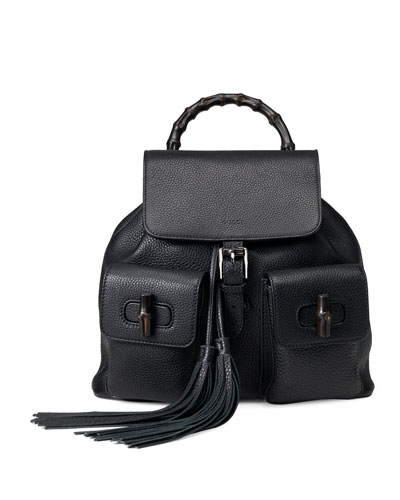 Bamboo Sac Leather Backpack, Black