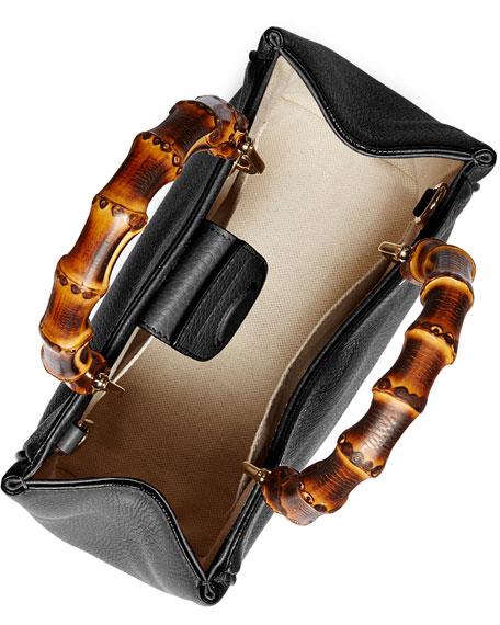 Bamboo Shopper Mini Leather Top Handle Bag, Black