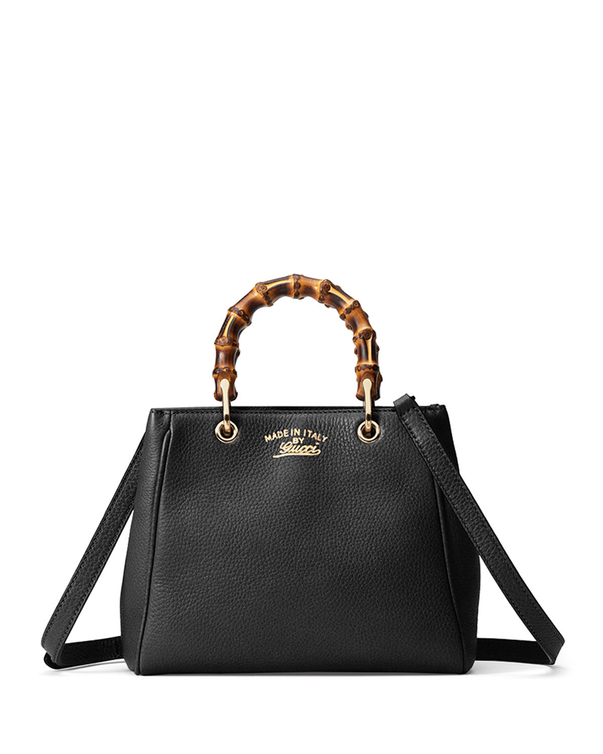 332d68b27 Gucci Bamboo Shopper Mini Leather Top Handle Bag, Black | Neiman Marcus