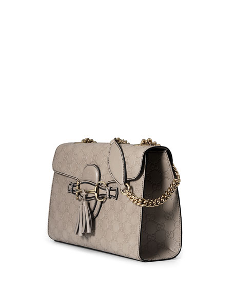 737084ed7bf8 Gucci Emily Guccissima Leather Chain Shoulder Bag, Light Gray
