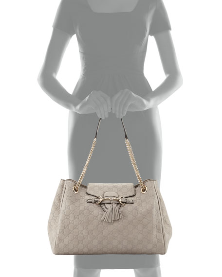 2600f2e93918 Gucci Emily Medium Guccissima Shoulder Bag, Light Grey