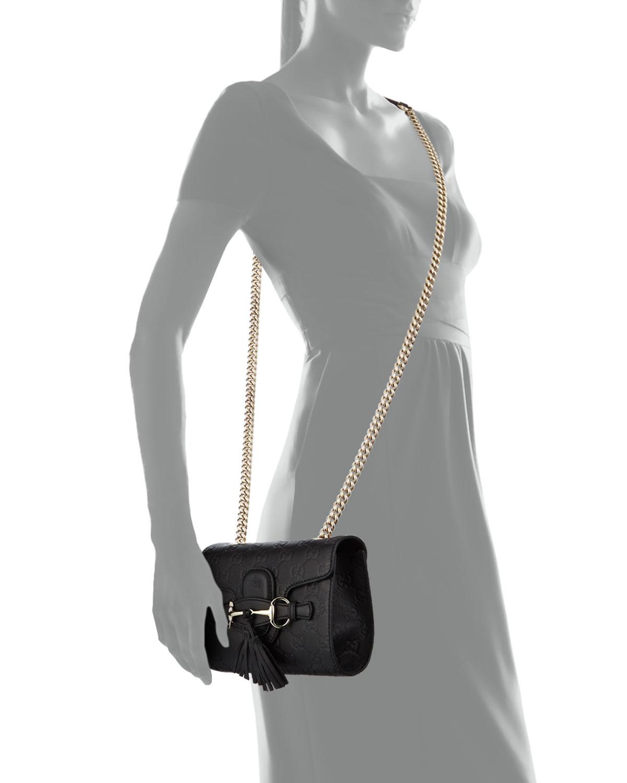 21e93e26d3d7ec Gucci Emily Guccissima Mini Crossbody, Black | Neiman Marcus