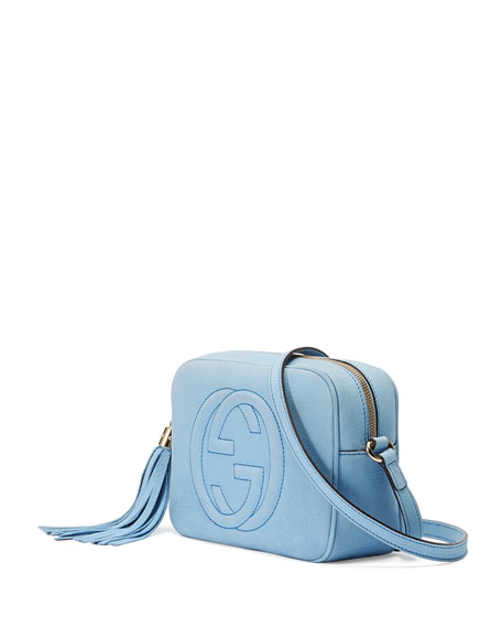 Soho Small Nubuck Shoulder Bag, Light Blue