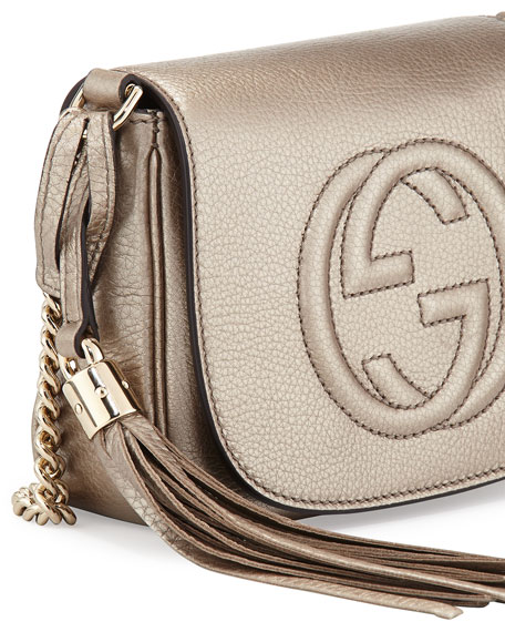 Soho Metallic Leather Mini Shoulder Bag, Gold