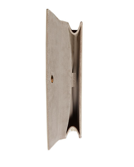 Broadway Microguccissima Patent Leather Evening Clutch, Light Grey