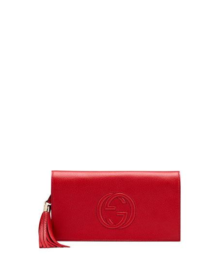Soho Flap Clutch, Red