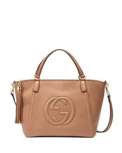 Gucci Soho Small Crossbody Tote, Beige