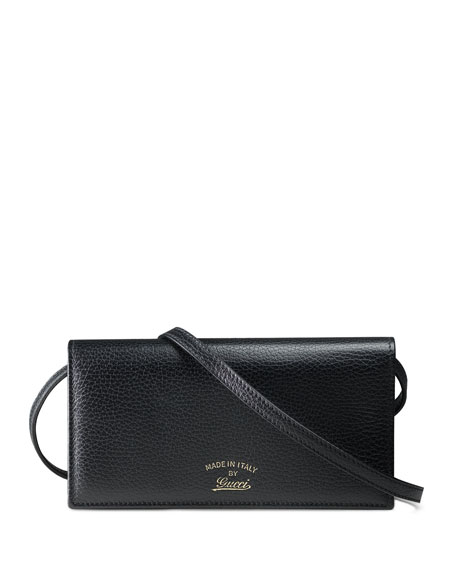 Gucci Swing Leather Wallet with Strap, Black