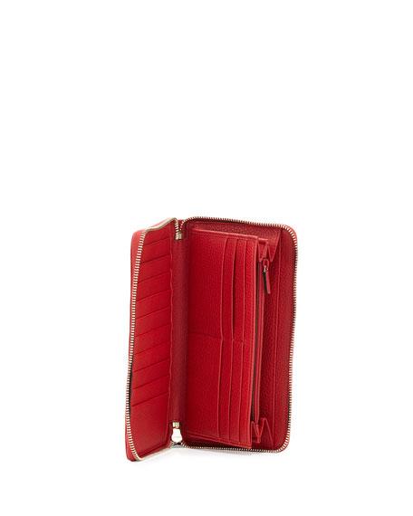 Soho Leather Travel Zip Around Wallet, Red