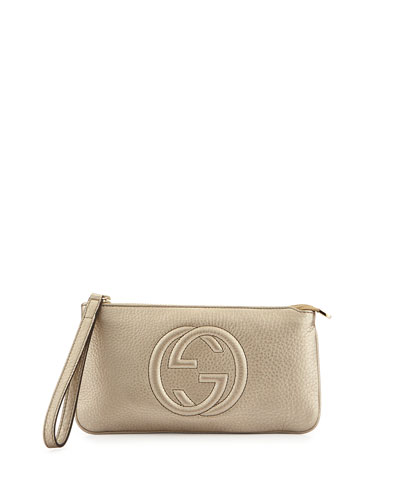 Soho Metallic Leather Wristlet Bag, Gold