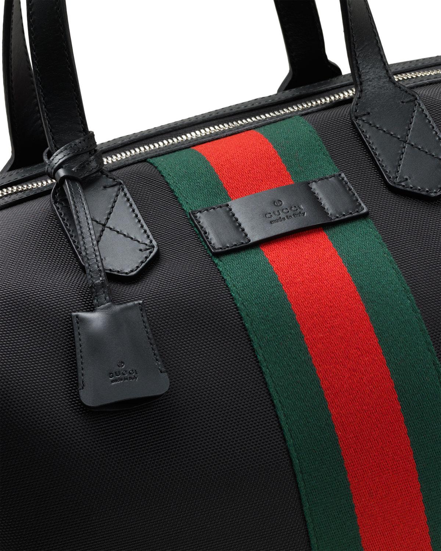 eb8e92d48 Gucci Techno Canvas Duffel Carry-On Bag, Black   Neiman Marcus
