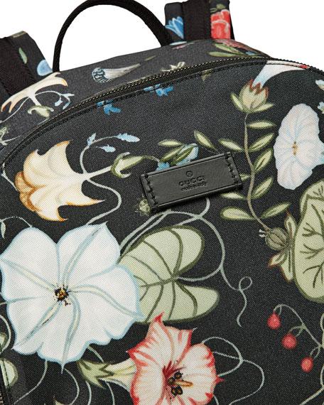 22bed5e02ec Gucci D-Active Flora Knight Print Canvas Backpack, Black
