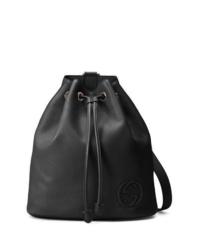Soho Leather Drawstring Backpack, Black