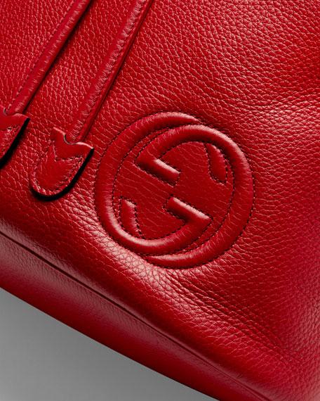 Soho Leather Drawstring Backpack, Red