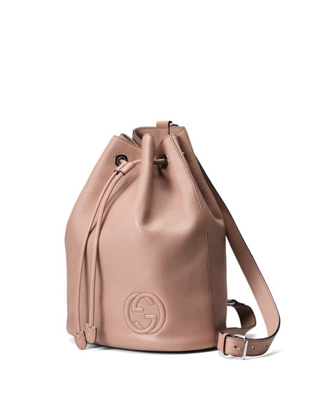 Soho Leather Drawstring Backpack, Neutral