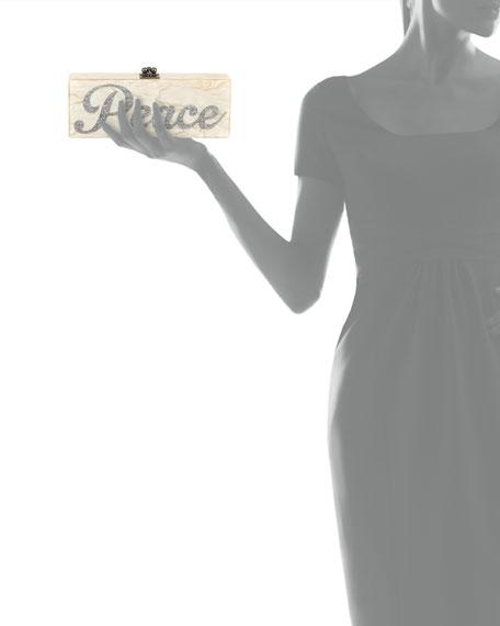 Flavia Acrylic Peace Clutch Bag, Nude/Silver