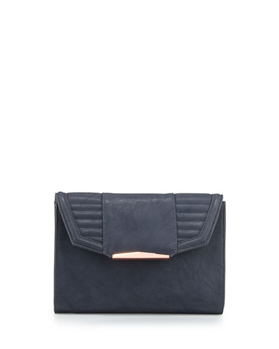 Eva Faux-Leather Flap Clutch Bag, Gray