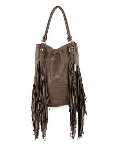 Crazyheart Croco Fringe Shoulder Bag