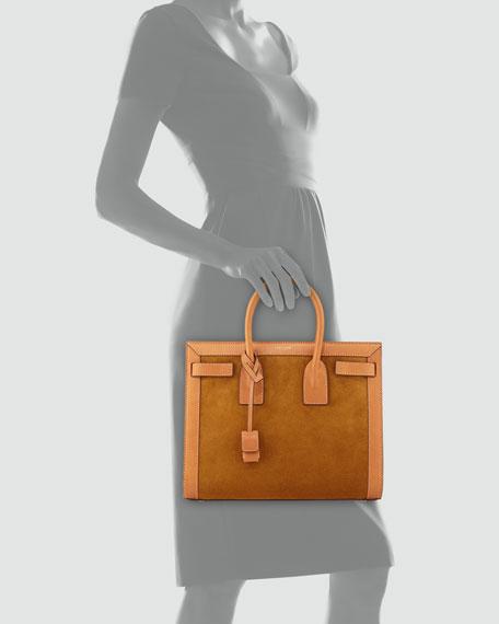 Sac de Jour Small Suede/Leather Tote Bag, Light Cognac