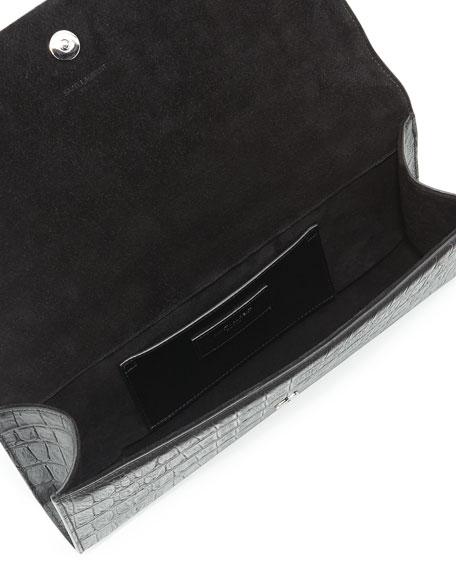 Monogram Croc-Stamped Clutch Bag, Black