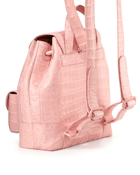 Small Two-Pocket Crocodile Backpack, Baby Pink