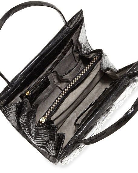 Medium Floral/Crocodile Satchel Bag, Black/White