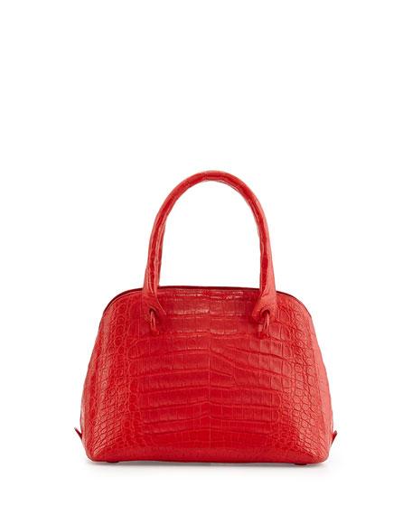 Small Dome Crocodile Satchel Bag, Red Matte