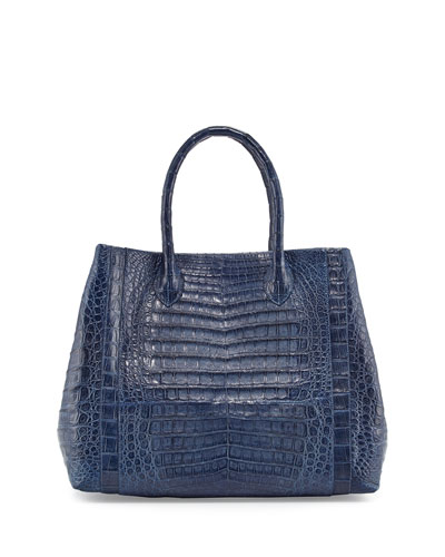 Crocodile Tote Bag, Denim Matte