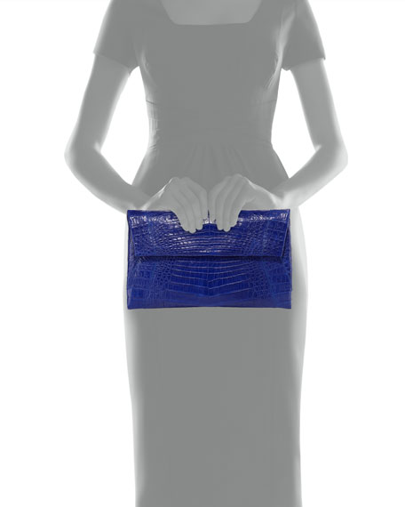 Small Soft Crocodile Flap Clutch Bag, Cobalt Blue