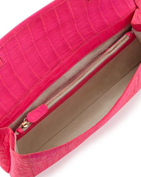 Gotham Crocodile Flap Clutch Bag, Neon Pink