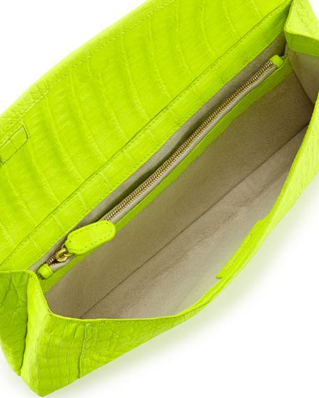 Gotham Crocodile Flap Clutch Bag, Neon Yellow