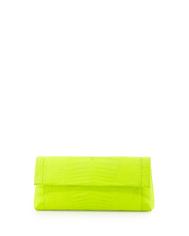 Nancy gonzalez gotham crocodile flap clutch bag neon yellow jpg 1200x1500 Neon  yellow clutch ec34ef937c9be