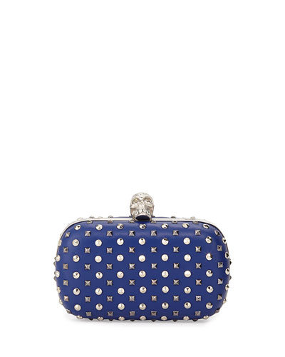 Alexander McQueen Studded Crystal-Skull Clutch Bag, Blue