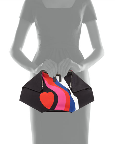 De-Manta Heart-Print Clutch Bag, Black Multi