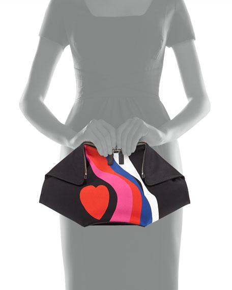 Alexander McQueen De-Manta Heart-Print Clutch Bag, Black Multi