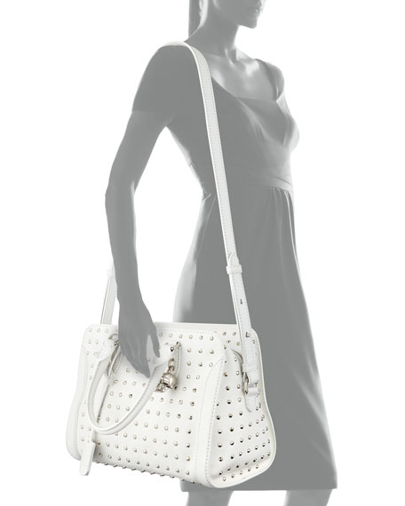 Image 3 of 3: Small Studded Padlock Satchel Bag, White