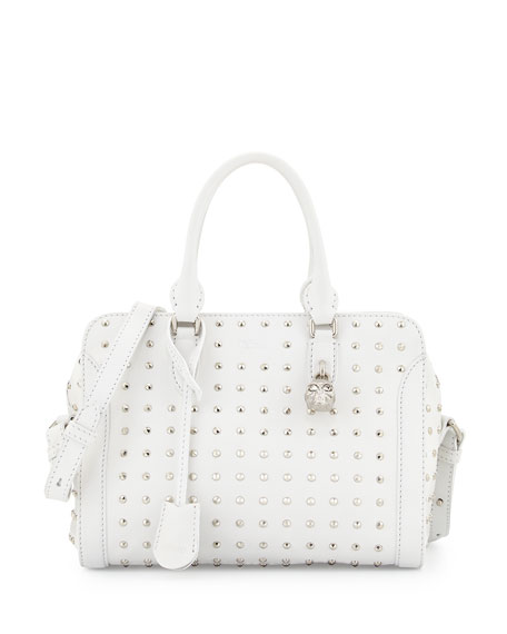 Image 1 of 3: Small Studded Padlock Satchel Bag, White