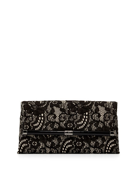 440 Lace Envelope Clutch Bag, Black/Nude