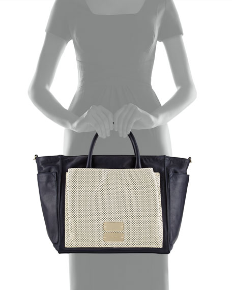 Nellie Perforated-Panel Crossbody Tote Bag, Midnight