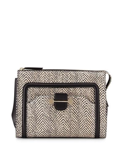 Daphne 2 Watersnake Clutch Bag, Nude/Black