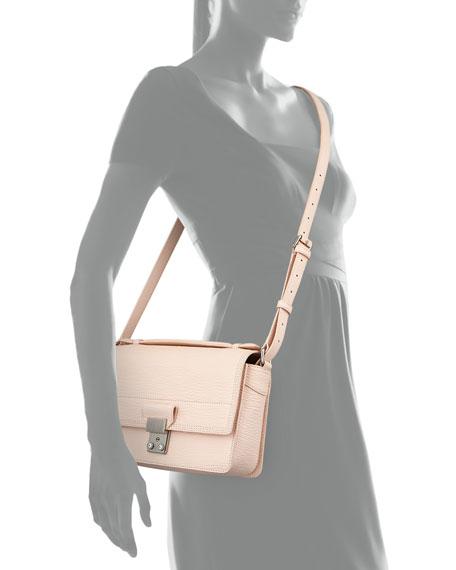 Pashli Mini Leather Messenger Bag, White Peach
