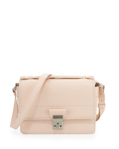 Pashli Mini Leather Messenger Bag, White Peach