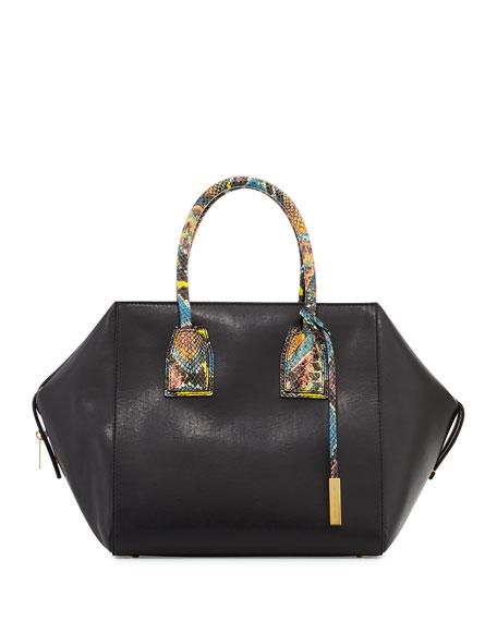 Cavendish Boston Faux-Python Satchel Bag, Black