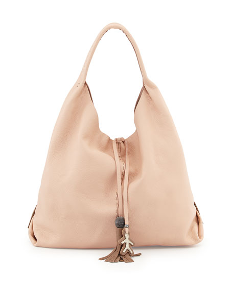 Henry Beguelin Draped Soft Leather Hobo Bag, Cream